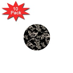 Floral Pattern Black 1  Mini Buttons (10 Pack)  by goodart