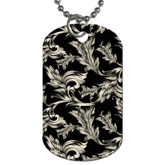Floral Pattern Black Dog Tag (one Side) by goodart