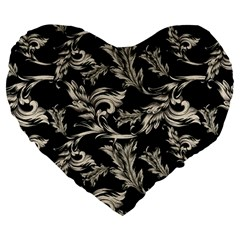 Floral Pattern Black Large 19  Premium Heart Shape Cushions