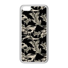 Floral Pattern Black Apple Iphone 5c Seamless Case (white) by goodart