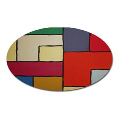 Color Block Art Painting Oval Magnet by goodart