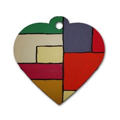 Color Block Art Painting Dog Tag Heart (one Side) by goodart