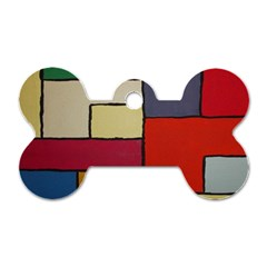 Color Block Art Painting Dog Tag Bone (two Sides) by goodart