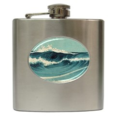 Waves Painting Hip Flask (6 Oz)