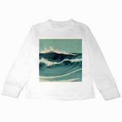 Waves Painting Kids Long Sleeve T Shirts by goodart