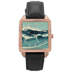 Waves Painting Rose Gold Leather Watch