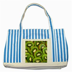 Sliced And Open Kiwi Fruit Striped Blue Tote Bag