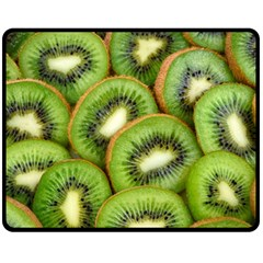 Sliced And Open Kiwi Fruit Fleece Blanket (medium)