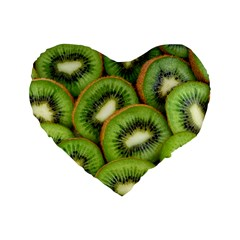 Sliced And Open Kiwi Fruit Standard 16  Premium Flano Heart Shape Cushions by goodart