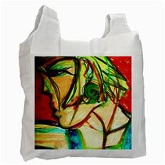 Girl In A Blue Tank Top Recycle Bag (one Side) by bestdesignintheworld