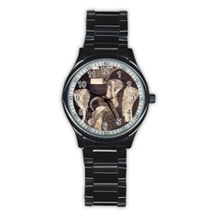 Jurisprudence   Gustav Klimt Stainless Steel Round Watch by Valentinaart