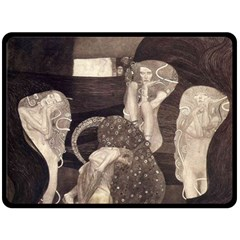 Jurisprudence   Gustav Klimt Double Sided Fleece Blanket (large)  by Valentinaart