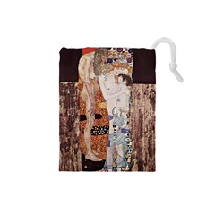 The Three Ages Of Woman  Gustav Klimt Drawstring Pouches (small)