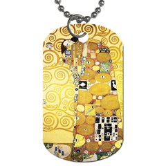 The Embrace   Gustav Klimt Dog Tag (two Sides) by Valentinaart