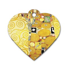 The Embrace   Gustav Klimt Dog Tag Heart (one Side) by Valentinaart