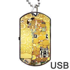 The Embrace   Gustav Klimt Dog Tag Usb Flash (two Sides) by Valentinaart