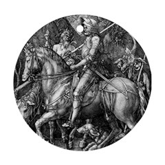 Death And The Devil   Albrecht Dürer Round Ornament (two Sides) by Valentinaart