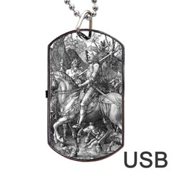Death And The Devil   Albrecht Dürer Dog Tag Usb Flash (two Sides) by Valentinaart