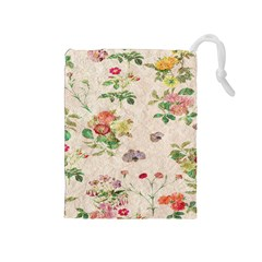 Vintage Flowers Wallpaper Pattern Drawstring Pouches (medium)  by goodart