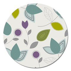 Leaves Flowers Abstract Magnet 5  (round) by goodart