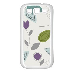 Leaves Flowers Abstract Samsung Galaxy S3 Back Case (white) by goodart