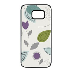Leaves Flowers Abstract Samsung Galaxy S7 Edge Black Seamless Case by goodart
