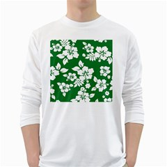 Hibiscus Flower White Long Sleeve T Shirts by goodart