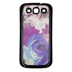 Floral Vintage Wallpaper Pattern Pink White Blue Samsung Galaxy S3 Back Case (black) by goodart