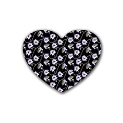 Floral Pattern Black Purple Rubber Coaster (heart)  by goodart