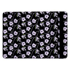 Floral Pattern Black Purple Samsung Galaxy Tab Pro 12 2  Flip Case by goodart