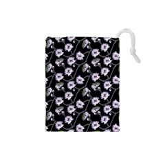 Floral Pattern Black Purple Drawstring Pouches (small)  by goodart