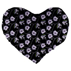 Floral Pattern Black Purple Large 19  Premium Flano Heart Shape Cushions by goodart