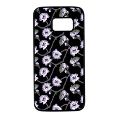 Floral Pattern Black Purple Samsung Galaxy S7 Black Seamless Case