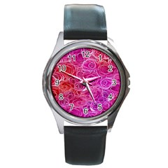Floral Pattern Pink Flowers Round Metal Watch by goodart