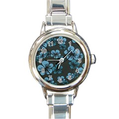 Blue Flower Pattern Young Blue Black Round Italian Charm Watch by goodart