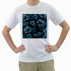 Blue Flower Pattern Young Blue Black Men s T-shirt (white) (two Sided) by goodart