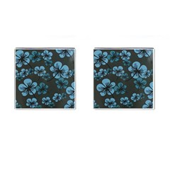 Blue Flower Pattern Young Blue Black Cufflinks (square) by goodart