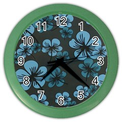 Blue Flower Pattern Young Blue Black Color Wall Clocks