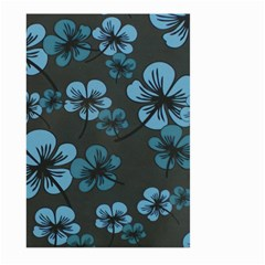Blue Flower Pattern Young Blue Black Large Garden Flag (two Sides) by goodart
