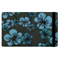 Blue Flower Pattern Young Blue Black Apple Ipad 2 Flip Case by goodart