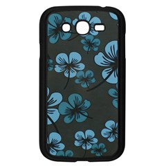 Blue Flower Pattern Young Blue Black Samsung Galaxy Grand Duos I9082 Case (black) by goodart