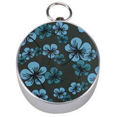 Blue Flower Pattern Young Blue Black Silver Compasses by goodart