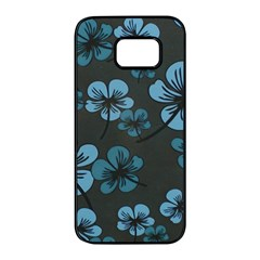 Blue Flower Pattern Young Blue Black Samsung Galaxy S7 Edge Black Seamless Case