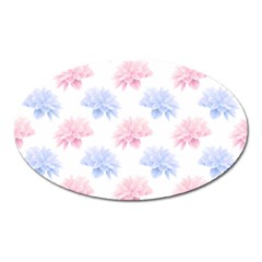 Blue And Pink Flowers Vector Clipart Oval Magnet