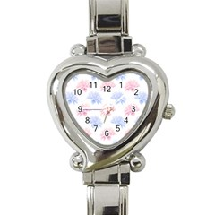 Blue And Pink Flowers Vector Clipart Heart Italian Charm Watch by goodart