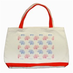 Blue And Pink Flowers Vector Clipart Classic Tote Bag (red)