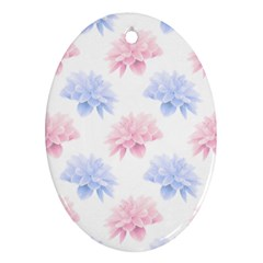 Blue And Pink Flowers Vector Clipart Oval Ornament (two Sides)
