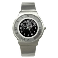 Black And White Dark Flowers Stainless Steel Watch