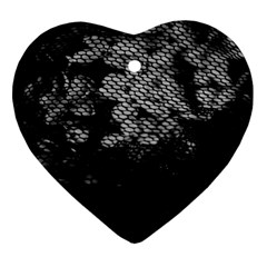 Black And White Dark Flowers Heart Ornament (two Sides)