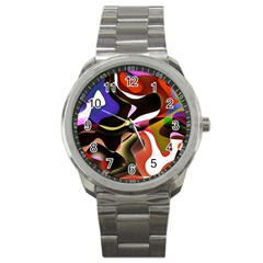 Abstract Full Colour Background Sport Metal Watch by Modern2018